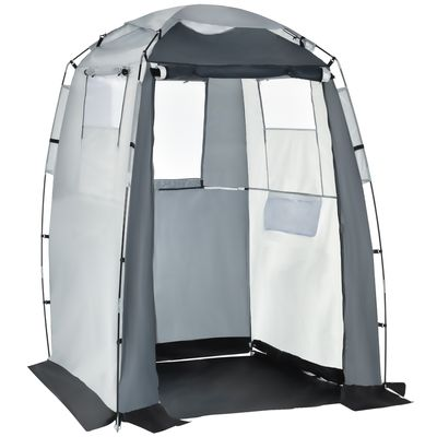 Outsunny Shower Tent Changing Room Privacy Portable Camping Shelters with Windows &  Floor Mat, Foldable w/ Carry Bag