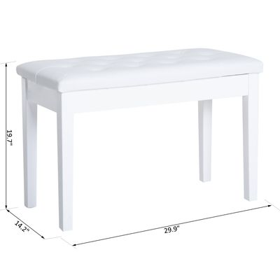 HomCom Faux Leather Padded Double / Duet Piano Bench w/ Music Storage - White