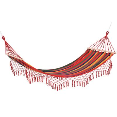 Outsunny Brazilian Hammock Portable Hammock Load Capacity Up to 440 Lbs for Backyard, Porch, Outdoor and Indoor Use Red Stripe