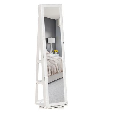 HOMCOM 360° Swivel Jewelry Cabinet, Mirror Armoire, Full Length Mirror, Lockable Jewelry Organizer with Built-In Small Mirror, White