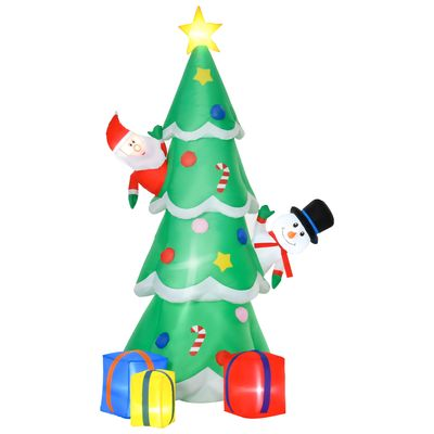 HOMCOM 7 Feet Tall Christmas Inflatable Tree, LED Lighted with Santa Claus, Snowman and Gift Box for Home Indoor Outdoor Garden Lawn Decoration Party Prop