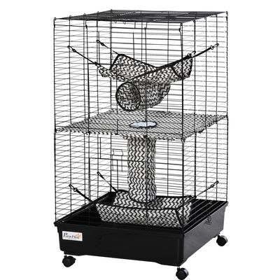 PawHut Small Animal Cage Habitat Pet Play House for Ferret with Wheels Hammocks Tunnels and 3 Doors Black