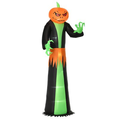HOMCOM 9FT Inflatable Halloween Pumpkin Head Ghost with Build-in LED,  Outdoor Lighted Blow Up Inflatables for Party Indoor,Garden, Lawn