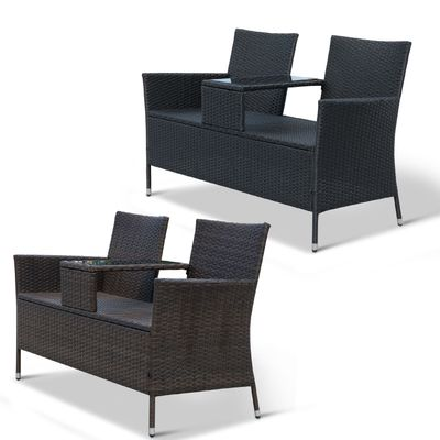Outsunny 2 Seat Rattan Wicker Chair Bench with Tea Table Cushioned Seat All Weather Outdoor