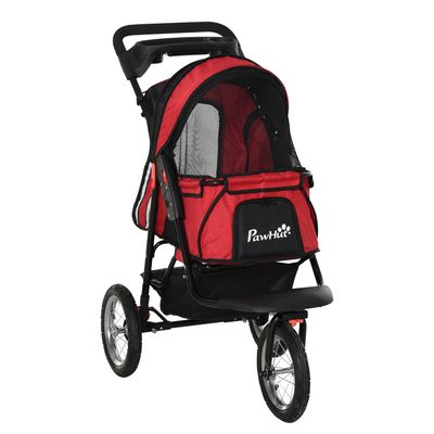 PawHut Jogger Pet Stroller One-Click Fold Dog/Cat Travel Carriage with Universal Metal Hub Wheels Brakes Basket Cup Holder Canopy Zippered Mesh Window Door Red