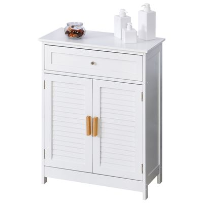 kleankin Bathroom Storage Cabinet Toilet Cabinet Double Door Removable Shelf White
