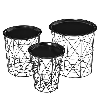 HOMCOM Set of 3 Nesting End Tables with Storage, Round Side Tables with Metal Frame, Living Room Coffee Tables with Removable Tray, Black