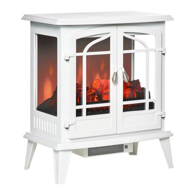 HOMCOM Electric Fireplace Stove, Freestanding Indoor Heater with Realistic Flame Effect, Adjustable Temperature and Overheat Protection, White