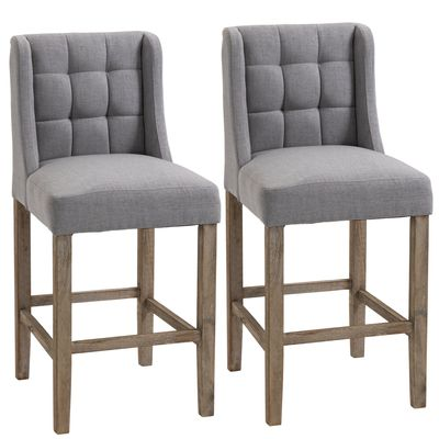 HOMCOM Modern Counter Bar Stools Tufted Upholstered Counter Chairs Set of 2 for Kitchen, Grey