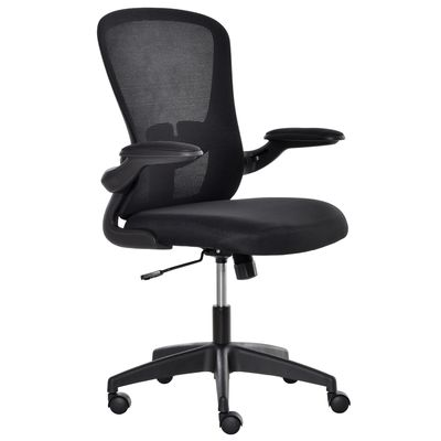 Vinsetto Mesh Home Office Chair Swivel Task Desk Chair with Lumbar Back Support, Adjustable Height, Flip-Up Arm, Black