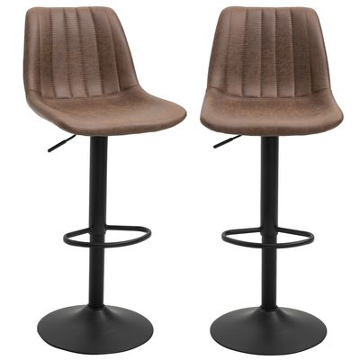 HOMCOM Barstools 2 Piece Adjustable Height Dining Counter Chair 360° Swivel with Footrest for Home Pub, Brown