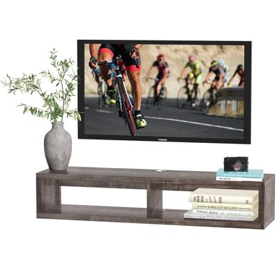 HOMCOM Wall Mounted Media Console  Floating TV Stand Component Shelf  Entertainment Center Unit  Dark Grey Wood Grain