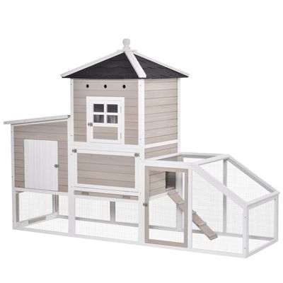 PawHut 106Inches Wooden Chicken Coop Outdoor Hen House Multi-room Poultry Cage with Removable Tray Separate Nesting Box, Grey