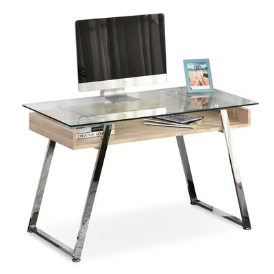 HOMCOM Computer Desk Workstation Center Writing Laptop Table Glass Top for Home Office