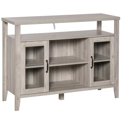 HOMCOM Rustic Style Sideboard Serving Buffet Storage Cabinet Cupboard with Glass Doors and Adjustable Shelves for Kitchen & Dining Area, Grey