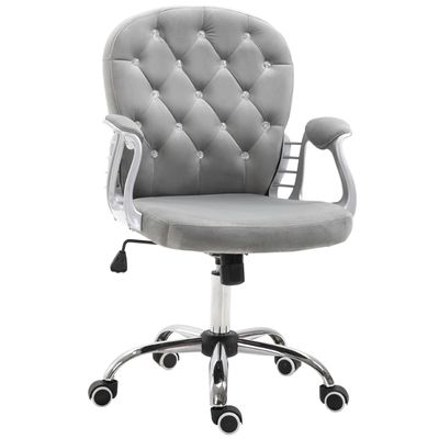 Vinsetto Vanity Middle Back Office Chair Tufted Backrest Swivel Rolling Wheels Task Chair with Height Adjustable Comfortable with Armrests