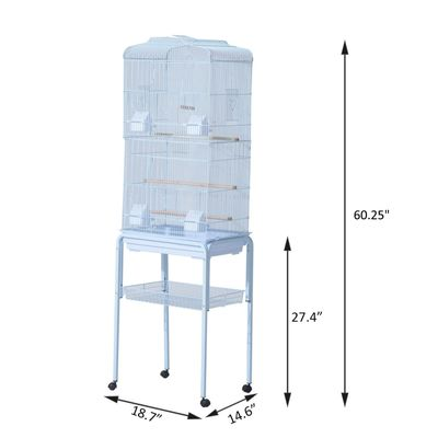 "PawHut 63"" Bird Cage Macaw Cockatoo House Parrot Play Top Finch Pet Supply with Wheels White"