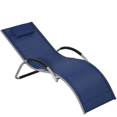 Outsunny Ergonomic Lounger Chair Portable Armchair with Removable Headrest Pillow for Garden Patio Outside All Aluminum Frame Blue