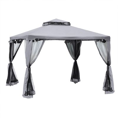 Outsunny 9.6' x 9.6' Patio Gazebo Outdoor Pavilion 2 Tire Roof Canopy Shelter Garden Event Party Tent Yard Sun Shade Steel Frame w/ Mosquito Netting Grey