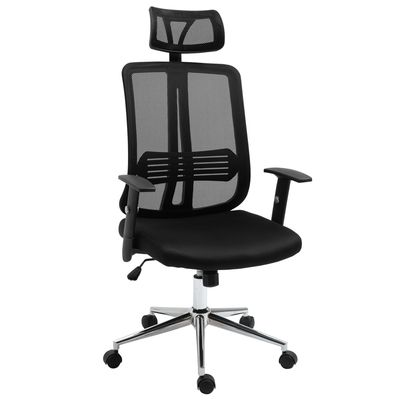 Vinsetto High Back Mesh Chair Office Task Chair with Adjustable Height, Headrest, Arm, Lumbar Back Support, Black