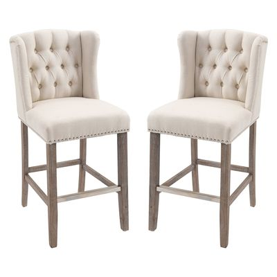 HOMCOM 2 Pieces Linen Style Bar Stools Tall Chair with Back  Footrest for Home Pub