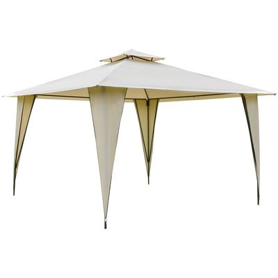 Outsunny 12' x 12' Canopy Tent Outdoor Party Gazebo with Double-tier Roof & Dressed Legs  Beige