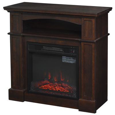 HOMCOM 1500W Freestanding Electric Fireplace Space Heater Wood Mantel Realistic Flame Stove, Dark Coffee
