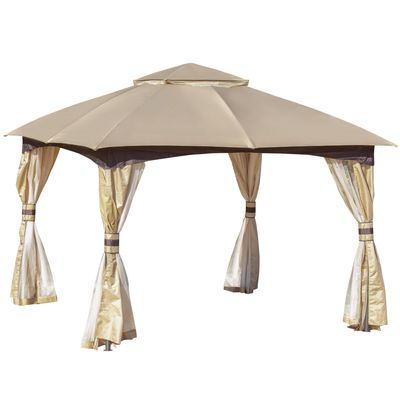 Outsunny 11' x 11' Steel Gazebo Canopy Party Tent Shelter with Double Roof  Netting Sidewalls  Corner Curtains  Beige