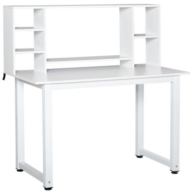 HOMCOM Computer Desk Writing Table with Storage Hutch Shelf Free-Standing Muti-Function Workstation for Home Office  White