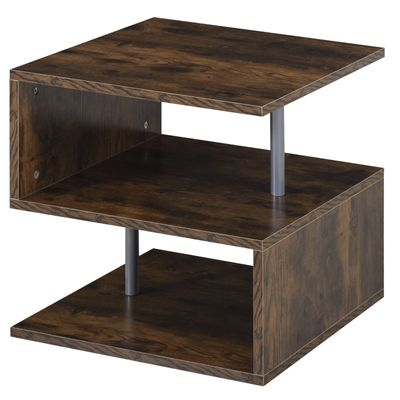 HOMCOM End Coffee Table S Shaped Stand Storage Shelves Organizer Living Room Oak Brown