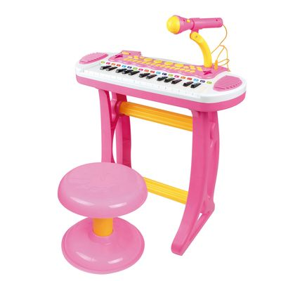 Qaba Kids Toddler Toy Piano Keyboard with Included Sitting Stool, Working Microphone, A Fun Bright Flashlight, Pink