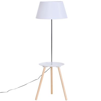 HOMCOM Modern Floor Lamp with Wood Legs Extra Shelf E26 Base for Living Room Bedroom