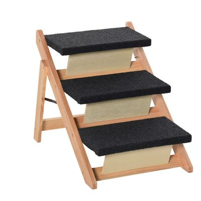 PawHut Wood Pet Stairs 2 In 1 Convertible Dog Steps and Carpeted Ramp Portable Foldable 3 Level Cat Ladder for High Bed Couch Car