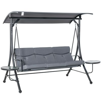 Outsunny 3 Seat Swing Chair Steel Swing Bench Chair With Adjustable Canopy & Coffee Tables & Cushion for Patio Garden