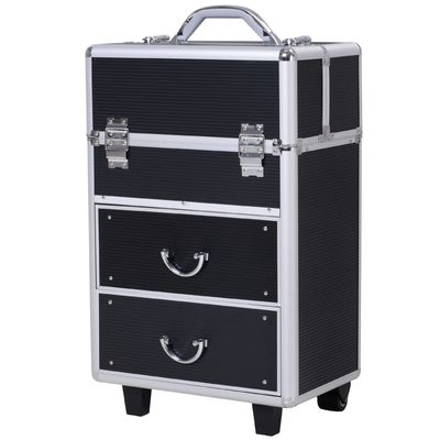 HOMCOM Professional Rolling Makeup Case Salon Beauty Cosmetic Jewelry Organizer Trolley with 2 Wheels (Black)