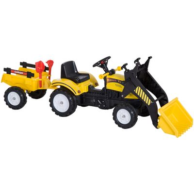 Aosom Ride On Excavator Pedal Control w/ 6 Wheels Controllable Bucket  for Ages 3-6