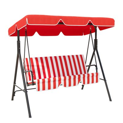 Outsunny Meatal 3-Seater Outdoor Swing Chair Cushioned Garden Lounger Patio Hammock with Frame and Canopy Red and White