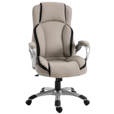 Vinsetto Office Task PU Chair Height Adjustable High Comfort Tilt Swivel Black and White