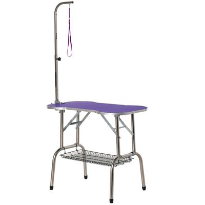 """PawHut 37"""" Foldable Pet Grooming Table Dog Drying Table with Adjustable Arm Non-Slip Rubber Tabletop Aluminium Alloy Edge Stainless Steel Bar Hanging Leash Purple"""