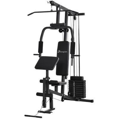 Soozier Multifunction Home Power Exercise Gym System Weight Training Exercise Workout Station Fitness Strength Machine for Whole Body Training Black