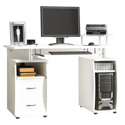 HOMCOM Computer Office Desk PC Table Workstation with  Keyboard Tray  CPU Shelf  Drawers  Sliding Scanner Shelf  White