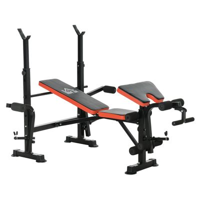 Soozier Adjustable Weight Bench with Leg Developer Barbell Rack for Weight Lifting and Strength Training Multifunctional Workout Station for Home Gym Fitness
