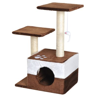 """PawHut 28"""" Cat Tree Scratcher Kitten Condo Play House Activity Center w/ Hanging Toy Brown"""