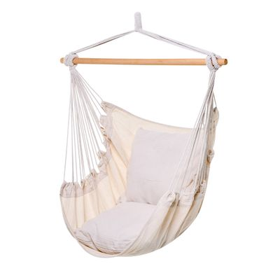 Outsunny Hammock Chair Swing Hanging Macrame Chair Cotton w/ Two Soft Seat Cushions, for Bedroom Indoor Outdoor Ideal Gift for Kids Lover Birthday Present White