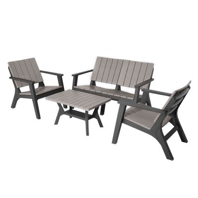 Outsunny 4 Piece Garden Furniture Set Patio Conversation Set 2-Seater Sofa 2 Single Chair Coffee Table with Storage Shelf for Lawn Backyard Poolside