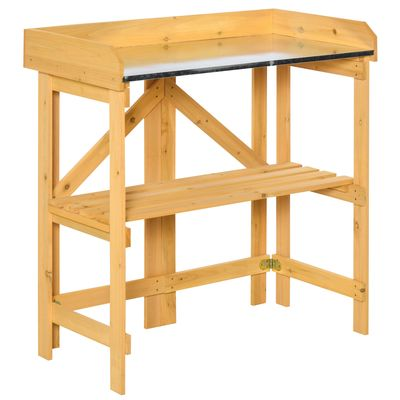 """Outsunny Outdoor Garden Potting Bench Table Foldable Work Bench w/ Open Shelf Metal Tabletop Natural Wood Frame 33.5""""x17.25""""x35"""" Yellow"""