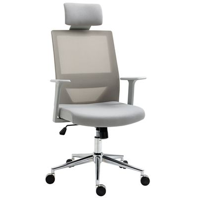 Vinsetto High Back Office Chair Swivel Task Chair with Lumbar Back Support, Breathable Mesh, and Adjustable Height, Headrest, Grey