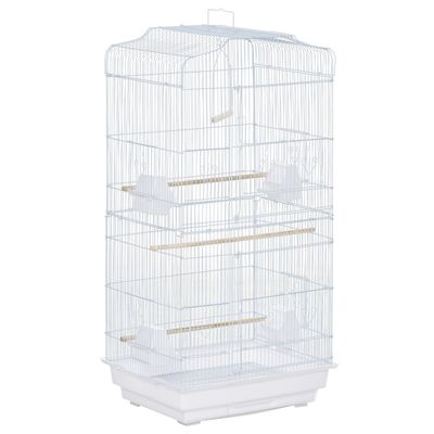 """PawHut 36"""" Bird Cage Macaw Play House Cockatoo Parrot Finch Flight Cage 2 Doors Perch 4 Feeder Pet Supplies White"""