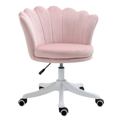HOMCOM Mid Back Office Chair Velvet Fabric Swivel Scallop Shape Computer Desk Chair for Home Study Bedroom, Pink