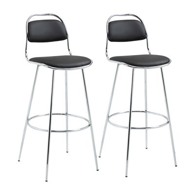 HOMCOM Height Bar Stools Set of 2, Classic PU Leather Bar Chairs for Counter Kitchen with Backrest and Footrest, Black